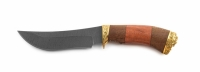 Нож Барс с кожаным чехлом (дамасская сталь с худ. литьём)