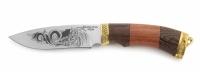 Нож Лесник с кожаным чехлом (кованная сталь 95х18 с гравировкой)
