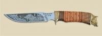 Нож Дельфин с кожаным чехлом (кованная сталь 95х18 с гравировкой)