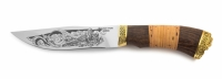 Нож Хищник с кожаным чехлом (кованная сталь 95х18 с гравировкой)