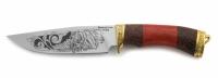 Нож Пума с кожаным чехлом (кованная сталь 95х18 с гравировкой)