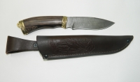Нож Лесник с кожаным чехлом (Дамасская сталь с худ. литьём)