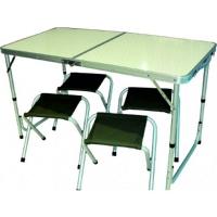"Стол + 4 стула ""Taiga"" (алюминивые стулья), ткань 1200х600D, в чехле (120х60х55/70 см)"